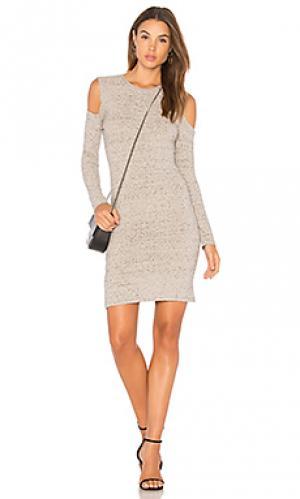 Мини платье cold shoulder David Lerner. Цвет: серый
