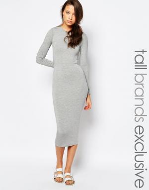Taller Than Your Average Облегающее платье миди с длинными рукавами TTYA. Цвет: серый