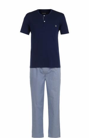 Хлопковая пижама с брюками Ermenegildo Zegna. Цвет: темно-синий