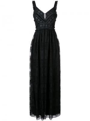 Вечернее платье V-образным вырезом Badgley Mischka. Цвет: чёрный
