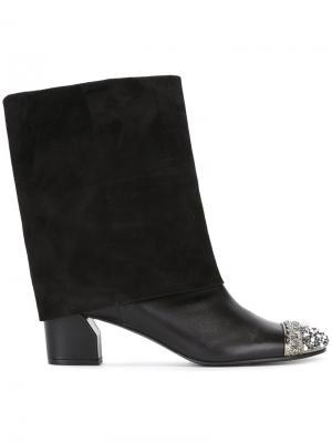 Ботинки с контрастным носком Casadei. Цвет: чёрный
