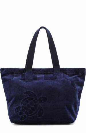 Пляжная сумка с вышивкой Vilebrequin. Цвет: темно-синий