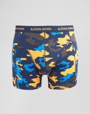 Bjorn Borg Боксеры-брифы с камуфляжным принтом. Цвет: темно-синий