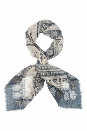 Шерстяной платок «Русский орнамент» Gourji. Цвет: синий