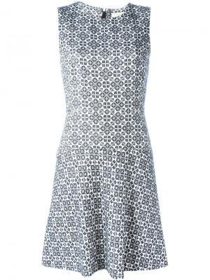 Расклешенное жаккардовое платье Tory Burch. Цвет: белый