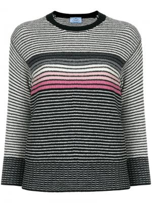 Полосатый свитер с круглым вырезом Prada. Цвет: белый