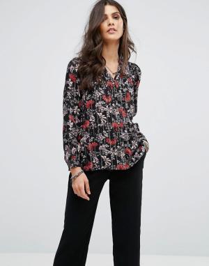 BA&SH Рубашка в полоску с цветочным принтом. Цвет: черный
