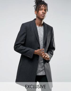 Noak Строгое приталенное пальто с узором гусиная лапка. Цвет: серый