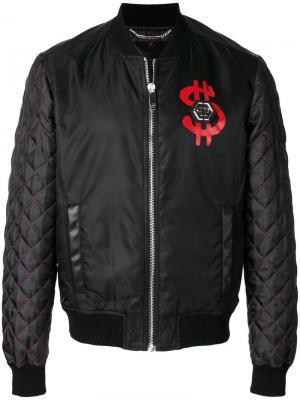 Куртка-бомбер Rich People Philipp Plein. Цвет: чёрный