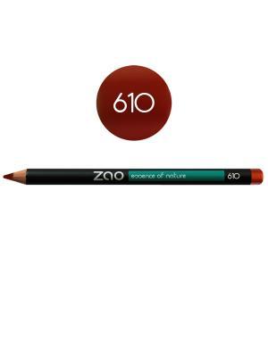 Zao карандаш для глаз, бровей, губ 610 (медно-красный) (1,14 г). Цвет: красный