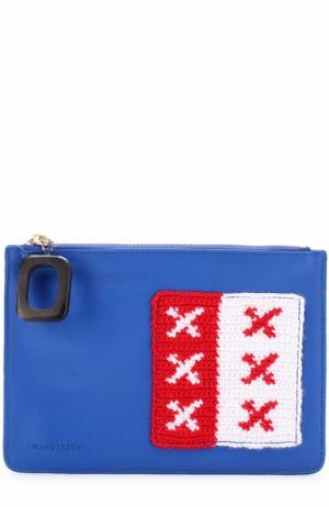 Клатч с вязаной аппликацией J.W. Anderson. Цвет: синий