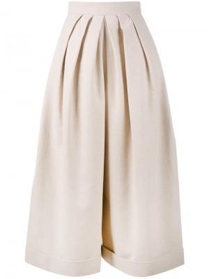 Укороченные брюки со складками Delpozo. Цвет: телесный