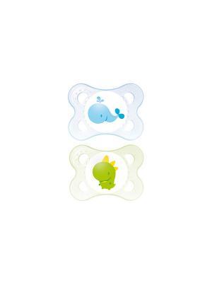Пустышка силиконовая MAM Original  2 шт., 0-6 месяцев. Цвет: синий, зеленый