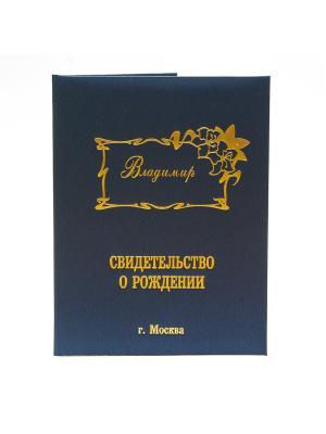 Именная обложка для свидетельства о рождении Владимир г.Москва Dream Service. Цвет: синий