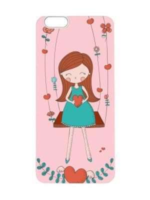 Чехол для iPhone 6 Девочка на качелях Chocopony. Цвет: розовый, белый