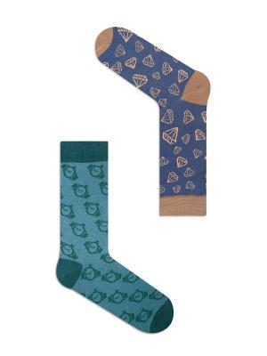 Набор Бриллиантовая рука (2 пары в упаковке), дизайнерские носки SOXshop. Цвет: синий