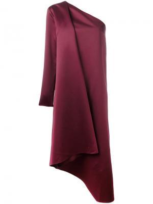 Атласное платье на одно плечо Solace. Цвет: красный