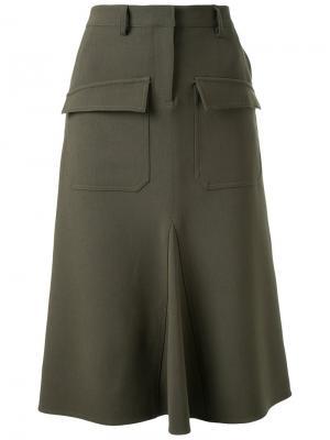 Юбка с накладными карманами Fad Three. Цвет: зелёный