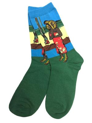 Носки ART-дизайн HOBBY LINE. Цвет: зеленый, голубой, желтый