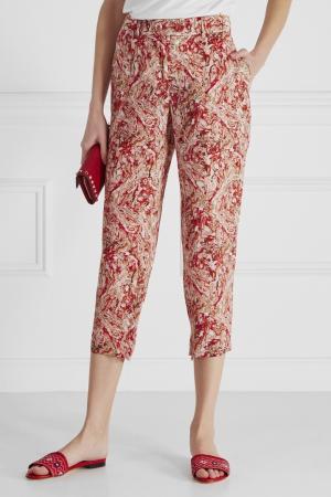 Шелковые брюки Bottega Veneta. Цвет: красный