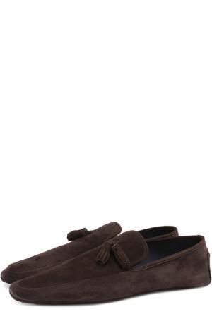 Домашние замшевые туфли A. Testoni. Цвет: темно-коричневый
