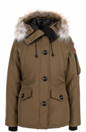 Утепленная куртка Montebello с капюшоном и меховой отделкой Canada Goose. Цвет: хаки