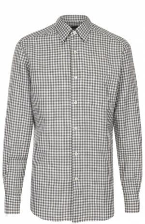 Рубашка из смеси хлопка и льна с воротником кент Ermenegildo Zegna. Цвет: зеленый