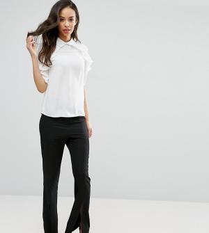 Fashion Union Tall Расклешенные брюки с разрезами спереди. Цвет: черный