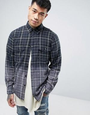 Reason Фланелевая рубашка с эффектом деграде и необработанной кромкой. Цвет: черный