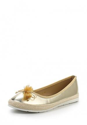 Балетки WS Shoes. Цвет: золотой