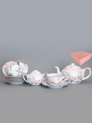 Чайный набор Орхидея на розовом Elan Gallery. Цвет: белый, розовый