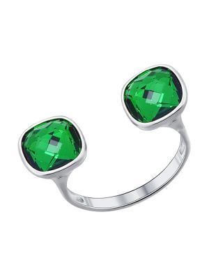 Кольцо SOKOLOV. Цвет: зеленый, серебристый
