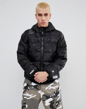 AAPE BY A BATHING APE Двусторонняя дутая куртка с капюшоном. Цвет: черный