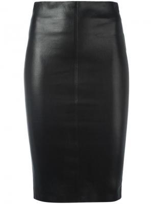 Кожаная юбка-карандаш Jitrois. Цвет: чёрный