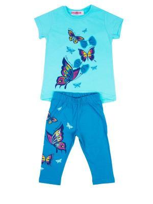 Комплект: футболка, бриджи Sladikmladik. Цвет: бирюзовый, синий