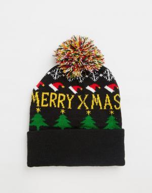 7X Новогодняя шапка с помпоном. Цвет: синий