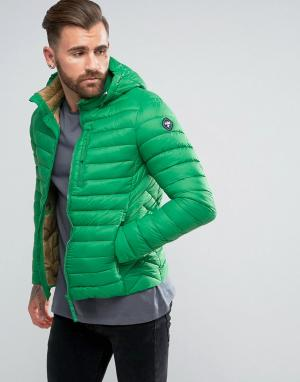 Puffa Короткая дутая куртка с капюшоном. Цвет: зеленый