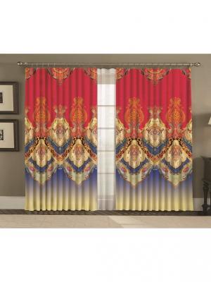 Комплект шторы, Персидские узоры 150*270 (2) + тюль МарТекс. Цвет: синий, бежевый, красный