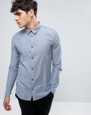 Dr Denim Синяя узкая рубашка Damian. Цвет: синий
