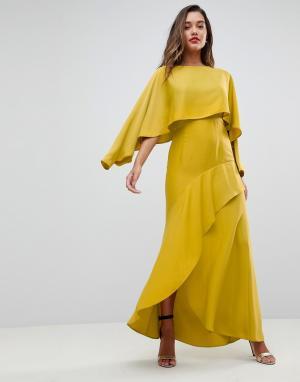 ASOS Платье-макси с длинными рукавами и разрезом на юбке. Цвет: зеленый