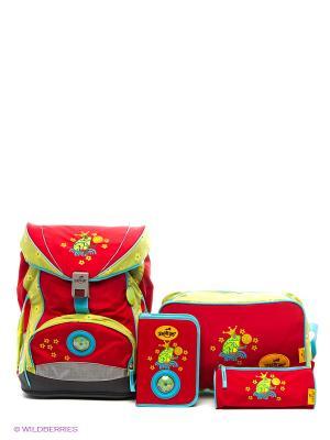 Ранец с наполнением Лягушка DerDieDas. Цвет: красный, желтый