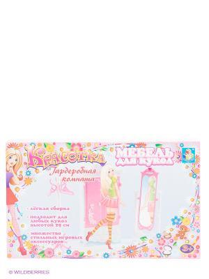 Набор мебели для кукол Гардеробная -  Красотка 1Toy. Цвет: розовый