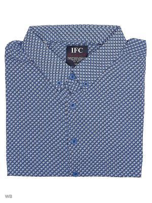 Рубашка IFC. Цвет: синий, белый, черный