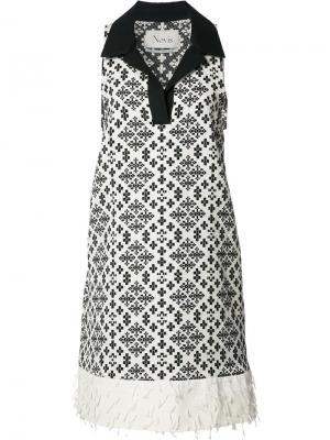 Платье с рисунком без рукавов Novis. Цвет: чёрный