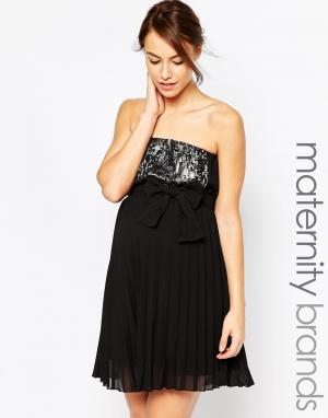 Ripe Платье без бретелек для беременных с отделкой пайетками Maternity. Цвет: черный