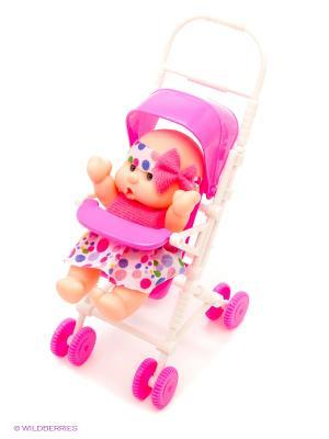 Пупс в коляске S-S. Цвет: белый, розовый