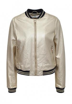 Куртка кожаная Befree. Цвет: золотой