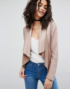 ASOS Кожаная куртка с каскадной драпировкой. Цвет: розовый