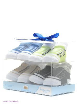 Носочки, 4 пары Luvable Friends. Цвет: синий, белый, черный