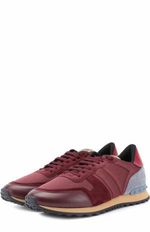 Комбинированные кроссовки  Garavani Rockrunner на шнуровке Valentino. Цвет: бордовый
